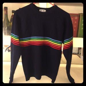 Rainbow striped 70s Meister sweater- 100% wool